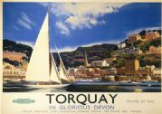 Torquay in Glorious Devon. Vintage BR Travel poster by Frank AA Wootton. c1950